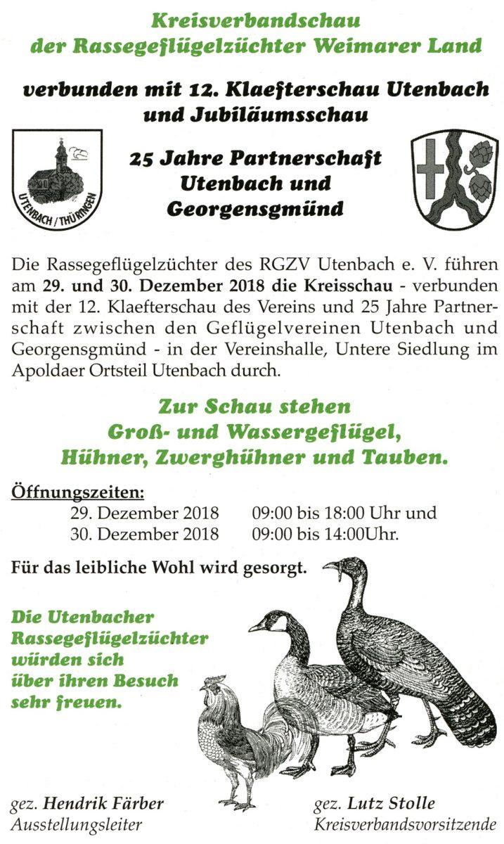 Anzeige: Kreisverbandschauf Rassegeflügelzüchert Weimarer Land 2018